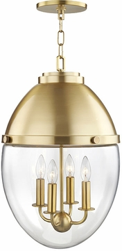 Hudson Valley 9514-AGB Kennedy Contemporary Aged Brass Hanging Pendant Lighting