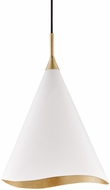Hudson Valley 9613-GL-WHT Martini Modern Gold Leaf / White 13  Ceiling Light Pendant