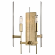 Hudson Valley 9902-AGB Bari Contemporary Aged Brass Finish 9.63 Wide Wall Sconce Lighting