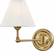 Hudson Valley MDS101-AGB Classic No.1 Aged Brass / Off White Silk Wall Swing Arm Lamp