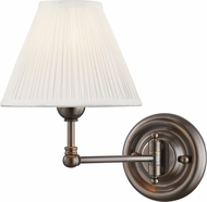 Hudson Valley MDS101-DB Classic No.1 Distressed Bronze / Off White Silk Wall Swing Arm Lamp