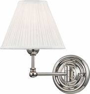 Hudson Valley MDS101-PN Classic No.1 Polished Nickel / Off White Silk Wall Swing Arm Lamp