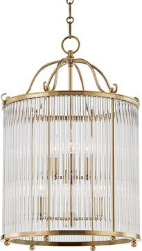 Hudson Valley MDS203-AGB Glass No.1 Aged Brass Foyer Lighting Fixture
