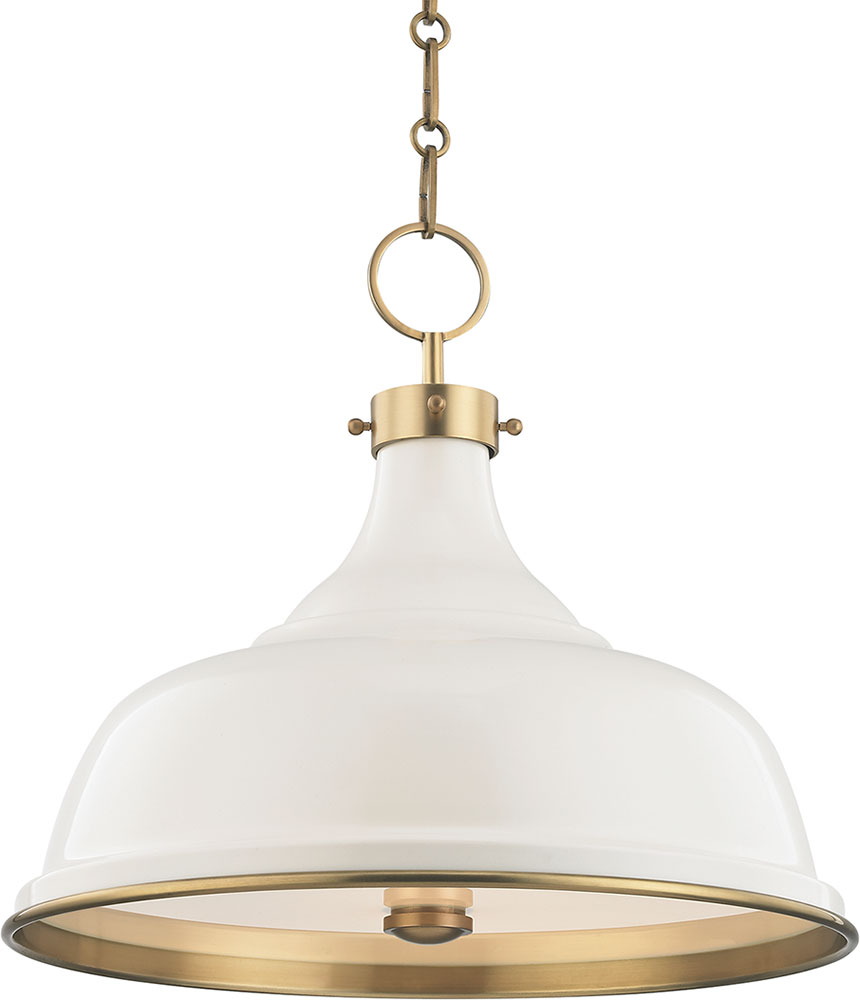 uk availability bc9f2 5e449 Hudson Valley MDS300-AGB-OW Painted No.1 Contemporary Aged Brass / Off  White Lighting Pendant