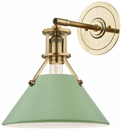Hudson Valley MDS350-AGB/LFG Painted No.2 Contemporary Aged Brass / Leaf Green Lamp Sconce