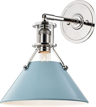 Hudson Valley MDS350-PN-BB Painted No.2 Contemporary Polished Nickel / Blue Bird Wall Lighting Fixture