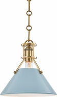 Hudson Valley MDS351-AGB-BB Painted No.2 Modern Aged Brass / Blue Bird Mini Pendant Lamp