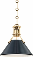 Hudson Valley MDS351-AGB-DBL Painted No.2 Contemporary Aged Brass / Darkest Blue Mini Hanging Lamp
