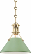 Hudson Valley MDS351-AGB/LFG Painted No.2 Contemporary Aged Brass / Leaf Green Mini Pendant Lamp
