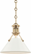 Hudson Valley MDS351-AGB-OW Painted No.2 Modern Aged Brass / Off White Mini Hanging Light