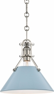 Hudson Valley MDS351-PN-BB Painted No.2 Contemporary Polished Nickel / Blue Bird Mini Pendant Light Fixture