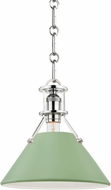 Hudson Valley MDS351-PN/LFG Painted No.2 Contemporary Polished Nickel / Leaf Green Mini Hanging Lamp