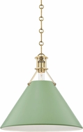 Hudson Valley MDS352-AGB/LFG Painted No.2 Modern Aged Brass / Leaf Green 16 Hanging Light