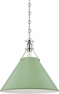 Hudson Valley MDS352-PN/LFG Painted No.2 Contemporary Polished Nickel / Leaf Green 16 Pendant Light Fixture
