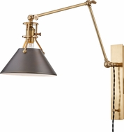 Hudson Valley MDS953-ADB Metal No.2 Contemporary Antique Distressed Bronze Swing Arm Wall Lamp