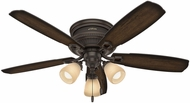 Hunter 53356 Ambrose Low Profile 3 Light Burnished Aged Maple / Aged Maple LED 52  Indoor Ceiling Fan