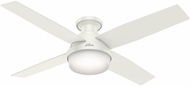 Hunter 59242 Dempsey Low Profile with Light Modern Fresh White / Blonde Oak LED 52  Indoor Ceiling Fan