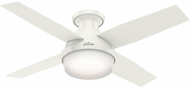 Hunter 59244 Dempsey Low Profile with Light Modern Fresh White / Blonde Oak LED 44  Home Ceiling Fan