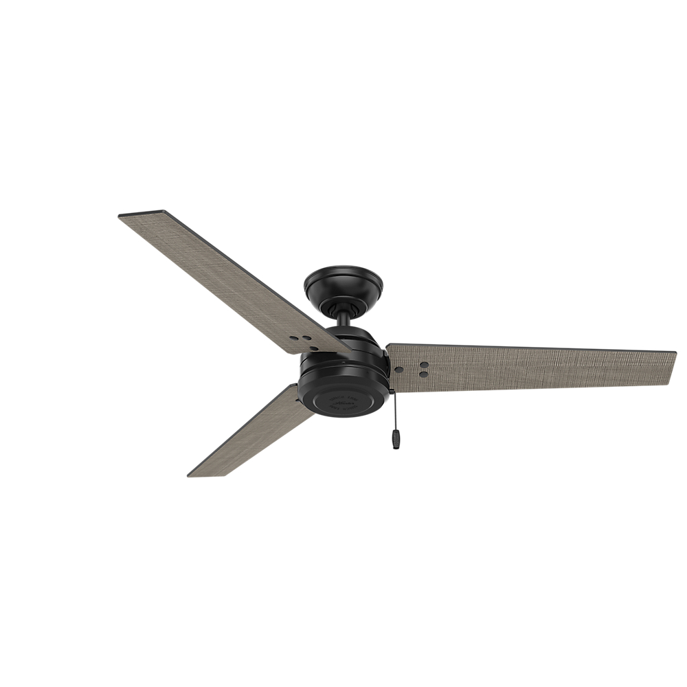 Hunter 72 Industrial Matte White Damp Rated Ceiling Fan: Hunter 59264 Cassius Contemporary Matte Black / Light Grey