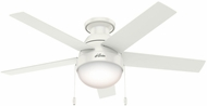 Hunter 59269 Anslee Low Profile Fresh White / Natural Wood Fluorescent 46 Indoor Ceiling Fan