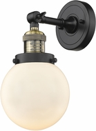 Innovations 203-BAB-G201-6 Franklin Restoration Beacon Contemporary Black Antique Brass Wall Mounted Lamp