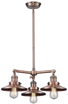 Innovations 207-AC-M3 Railroad Contemporary Antique Copper Mini Chandelier Light