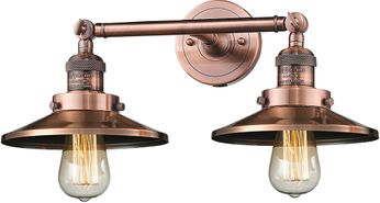 Innovations 208-AC-M3 Railroad Contemporary Antique Copper 2-Light Bathroom Light Fixture