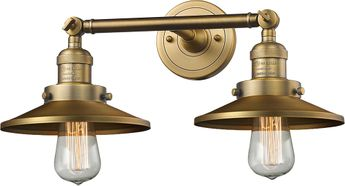 Innovations 208-BB-M4 Railroad Modern Brushed Brass 2-Light Bathroom Vanity Lighting