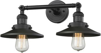 Innovations 208-BK-M6 Railroad Contemporary Matte Black 2-Light Bathroom Vanity Light