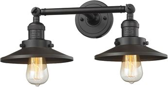 Innovations 208-OB-M5 Railroad Modern Oil Rubbed Bronze 2-Light Bathroom Sconce