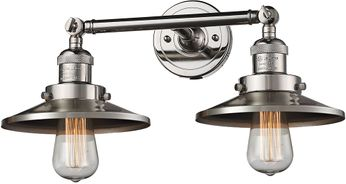 Innovations 208-PN-M1 Railroad Modern Polished Nickel 2-Light Vanity Light Fixture