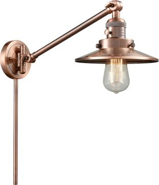 Innovations 237-AC-M3-AC Railroad Modern Antique Copper Swing Arm Wall Lamp
