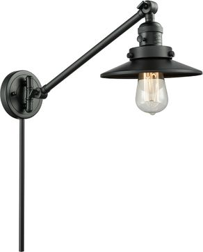 Innovations 237-BK-M6-BK Railroad Modern Matte Black Swing Arm Wall Lamp