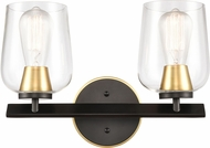 Innovations 420-2W-BSG-CL-LED Remy Contemporary Black Satin Gold LED 2-Light Bathroom Sconce Lighting