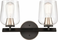 Innovations 420-2W-BSN-CL-LED Remy Contemporary Black Satin Nickel LED 2-Light Bathroom Wall Light Fixture