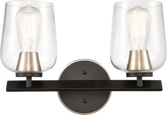 Innovations 420-2W-BSN-CL Remy Contemporary Black Satin Nickel 2-Light Bath Lighting Sconce