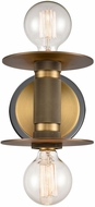 Innovations 433-2W-BBB Restoration Aurora Contemporary Black Brushed Brass Wall Light Sconce