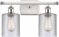 Innovations 516-2W-WPC-G112-LED Ballston Cobbleskill Contemporary White and Polished Chrome LED 2-Light Bathroom Sconce Lighting
