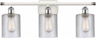 Innovations 516-3W-WPC-G112-LED Ballston Cobbleskill Contemporary White and Polished Chrome LED 3-Light Bathroom Light Sconce
