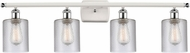 Innovations 516-4W-WPC-G112-LED Ballston Cobbleskill Contemporary White and Polished Chrome LED 4-Light Bathroom Wall Sconce