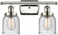 Innovations 916-2W-PN-G54-LED Ballston Small Bell Contemporary Polished Nickel LED 2-Light Bathroom Wall Light Fixture