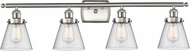 Innovations 916-4W-SN-G64-LED Ballston Small Cone Contemporary Brushed Satin Nickel LED 4-Light Vanity Lighting Fixture