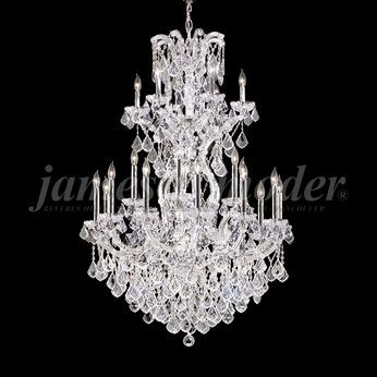 James Moder 91795S22 Maria Theresa Grand Crystal Silver Chandelier Light