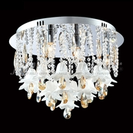 James Moder 96324S2SW Murano Crystal Aged Gold Flush Ceiling Light Fixture