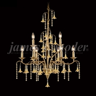James Moder 96329AG22E Murano Crystal Aged Gold Chandelier Lighting