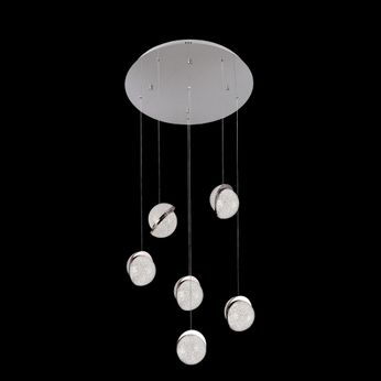 James Moder 96576S22LED Crystal Ice Collection Silver LED Multi Drop Ceiling Light Fixture