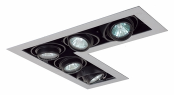 Jesco MG1650-5LESB Double Gimbal 5 Lamp New Construction L-Corner Recessed Light Fixture - Silver/Black