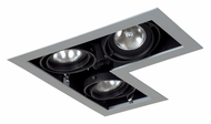 Jesco MGP20-3LSB Double Gimbal L-Corner 3 Lamp New Construction Recessed Light - Silver/Black
