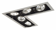 Jesco MGP30-5LSB Double Gimbal Silver/Black New Construction L-Corner Recessed Lighting Fixture