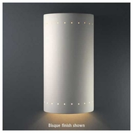 Justice Design 1190 Ambiance Ceramic Really Big Cylinder w/ Perforations Wall Sconce, Closed Top